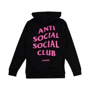 Anti social social club x playboy pullover hoodie
